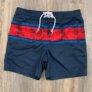 PENGUIN Mens Swim Trunks 31 Blue Red Striped short